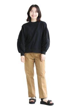 MUVEIL(ミュベール) スズラン刺繍裏毛プルオーバー  black