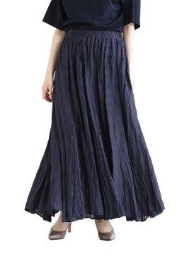 araara(アラアラ) Sheer Linen Volume Skirt  navy