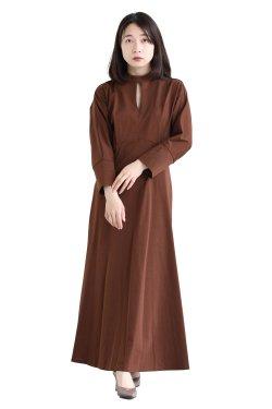 Mame Kurogouchi(マメ) Cotton Jersey Dress  BROWN