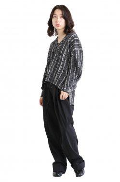 Mame Kurogouchi(マメ) V Neck Jacquard Knitted Pullover  NAVY