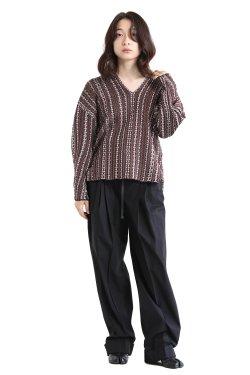 Mame Kurogouchi(マメ) V Neck Jacquard Knitted Pullover  BROWN