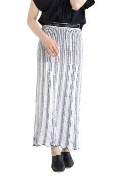 Mame Kurogouchi(マメ) Floral Stripe Jacquard Knitted Skirt