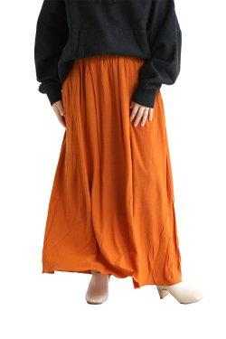 unfil(アンフィル) superfine merino crepe-jersey gathered skirt  darkorange