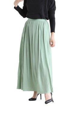 unfil(アンフィル) superfine merino crepe-jersey gathered skirt  lightgreen