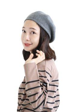 unfil(アンフィル) cashmere knit beret  grey