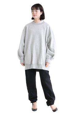 unfil(アンフィル) vintage cotton-fleece oversized sweatshirt  heather gray