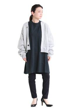 unfil(アンフィル) vintage cotton-fleece cropped cardigan  heather gray