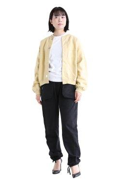 unfil(アンフィル) vintage cotton-fleece cropped cardigan  lemon grass