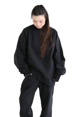 unfil(アンフィル) 【UNISEX】vintage cotton-fleece pullover  smokey black