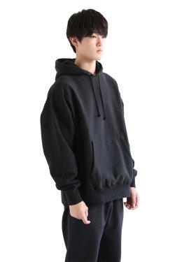 unfil(アンフィル) 【UNISEX】vintage cotton-fleece hoodie  smokey black