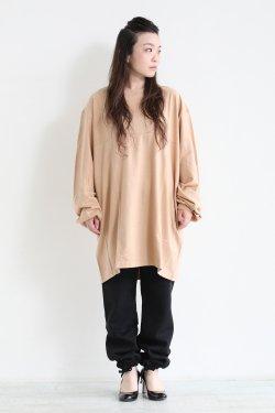 unfil(アンフィル) cotton flannel-jersey 5XL long sleeve Tee  warm beige