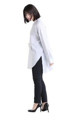 GALERIE VIE(ギャルリィヴィ) セルロースブロード スタンドネックシャツ