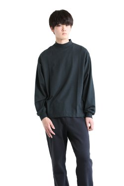 unfil(アンフィル) 【UNISEX】cotton flannel-jersey long sleeve mock Tee