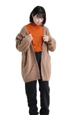 unfil(アンフィル) stretch super kid mohair cardigan  camel