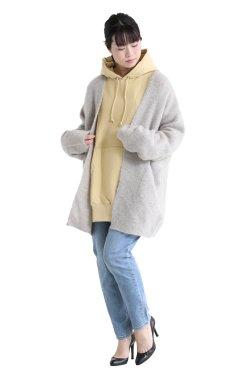 unfil(アンフィル) stretch super kid mohair cardigan  greige