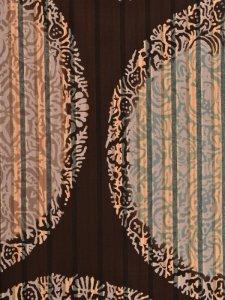 Rumi Rock木綿きもの 「丸紋鳳凰更紗」栗茶縞