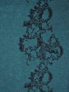 Rumi Rock木綿きもの「コウモリ更紗/青緑」