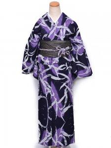 【仕立て上がり】RumiRockゆかた 「トウモロコシ 紫」