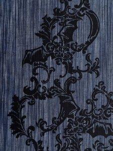 Rumi Rock木綿きもの 「コウモリ更紗」紺絣