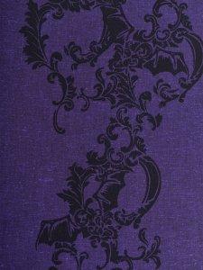 Rock木綿きもの 「コウモリ更紗」紫