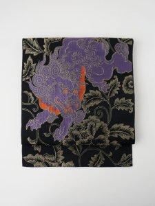 【受注商品】Rumi Rock 正絹 博多織名古屋帯「唐獅子牡丹」