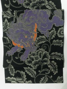 Rumi Rock 正絹 博多織名古屋帯「唐獅子牡丹」