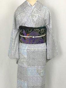 【即納】仕立て上がり「木版更紗」 生成り青  レディスM 単衣