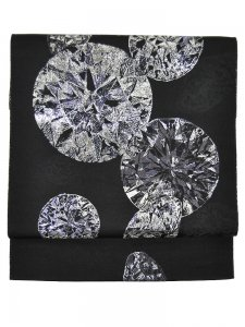 Rumi Rock 正絹 博多織名古屋帯「ダイヤモンド」