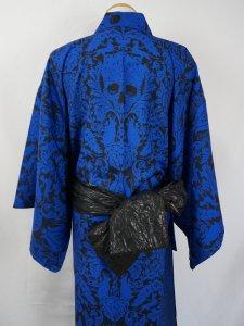 【仕立て上がり】Rumi Rockセオαゆかた「ドクロ更紗」青×黒 メンズM
