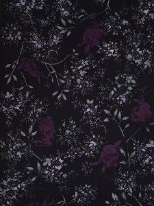 ルミフルールの着物「ローズラビット(黒)」