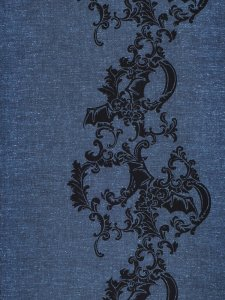 Rumi Rock木綿きもの「コウモリ更紗/青藍」