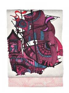 Rumi Rock 正絹 名古屋帯「南蛮船」 白