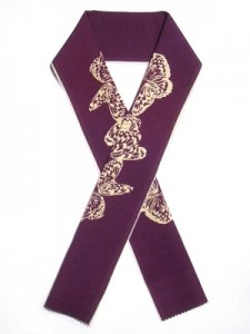 型染め半襟 群蝶 紅紫色