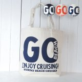 【WEB限定】<br>GO BEACH<br>12oz キャンバス<br>ビッグトートバッグ<br>NATURAL/NAVY<br>【50% off】
