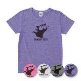 見上げる黒猫 Tシャツ<br>トライブレンド<br>ヘザーTシャツ<br>HEATHER PINK