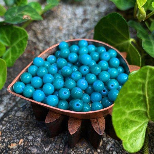 S02</br>ヴィンテージ樹脂ビーズ 5mm 青緑 </br>10g 約100個
