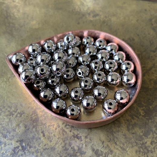 CCB156-2 メタルビーズ 6mm ロジウム 10g 約46個