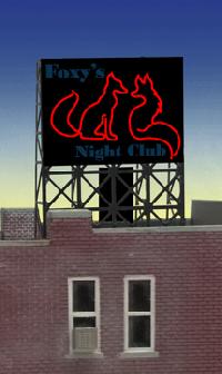 ジオラマ用ネオンサイン完成品 Foxy's 壁、窓、屋上看板用 Zゲージにも使用可