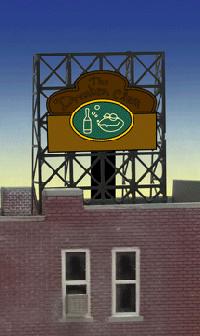 ジオラマ用ネオンサイン完成品 Drunken Clam 壁、窓、屋上看板用 Zゲージにも使用可