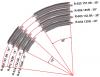 Tゲージ 曲線レール  145R-15° 4本セット