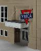 ジオラマ用ネオンサイン完成品  両面点滅ネオンサイン YMCA