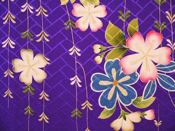 紋縮緬 はぎれ 枝垂れ桜に牡丹
