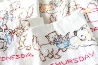 刺繍キッチンクロス(ティータオル )|仲良しイヌとネコ 7days(7種)セット