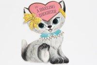 ヴィンテージカード|ピンク耳・ピンクしっぽの白ネコ