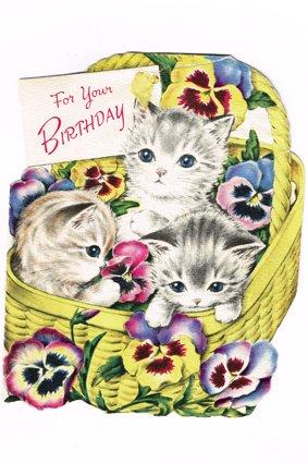 ヴィンテージカード ネコと花籠