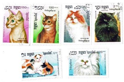 ネコ切手6種セット|カンプチア人民共和...