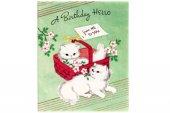 ヴィンテージカード|赤バスケットと白ネコ
