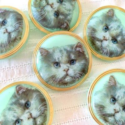 ネコのガラスボタン(チェコ) 白ネコ...