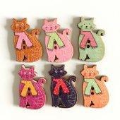 ネコのカラフルウッドパーツ(木ボタン)18ヶ入