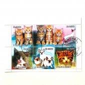 ネコ切手6種シート(古切手)|サントメ・プリンシペ民主共和国